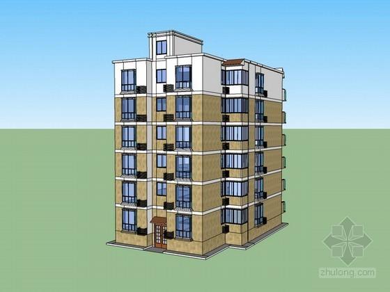 小户型住宅楼sketchup模型下载