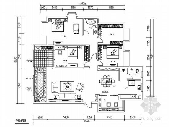 温馨田园风格四室两厅室内CAD装修图(含效果)