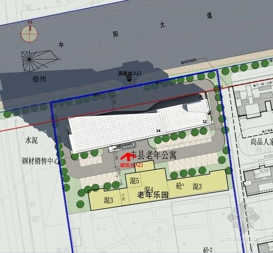 [江苏]多彩外廊开窗式老年公寓建筑设计方案文本(含CAD)-多彩外廊开窗式老年公寓建筑总平面图