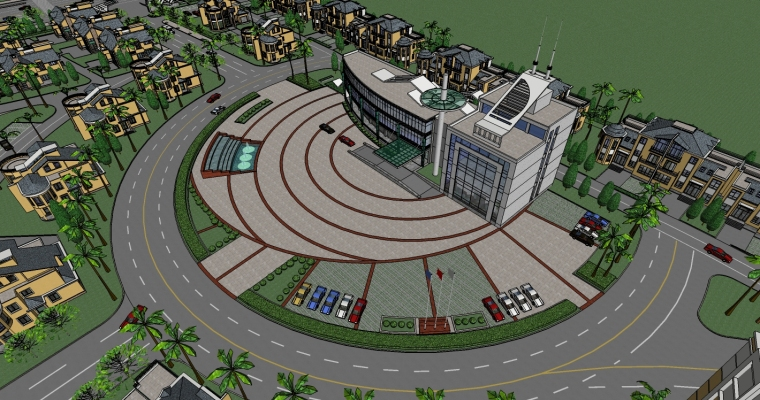 现代风格别墅/多层住宅小区规划精SU模型_1