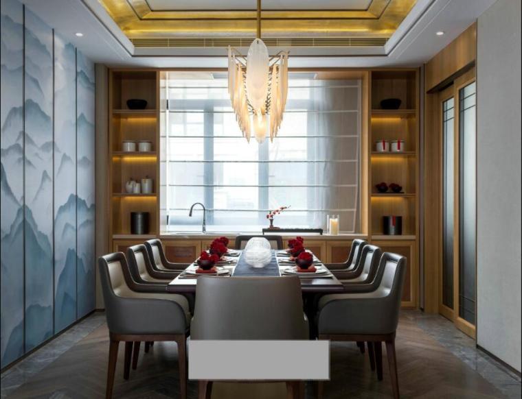 [佛山]知名设计新中式与现代简约别墅样板房设计施工图(含实景图_10