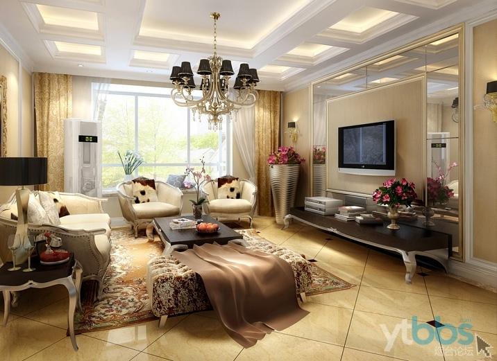 烟台实创装饰-桃源逸品-130平米欧式三居室