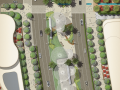 4套街道道路景观彩色平面图PSD分层素材