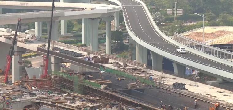 春节前海沧隧道本岛端接线建成通车