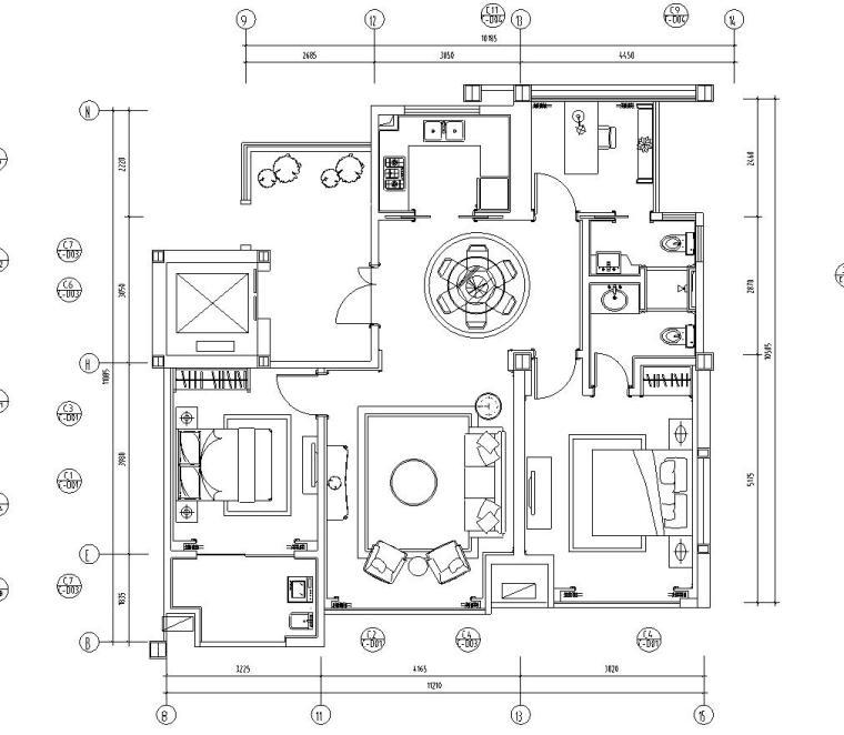 欧式香缇华府样板房B户型室内施工图设计(CAD+实景图)
