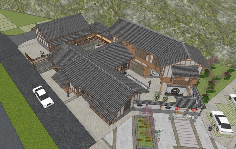 中式民宿建筑SU模型