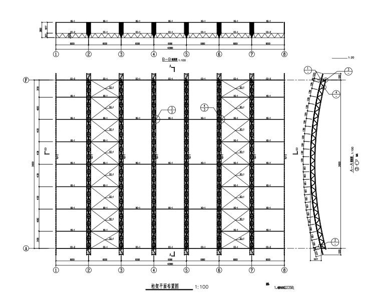 篮球馆屋面桁架结构施工图(CAD、5张)