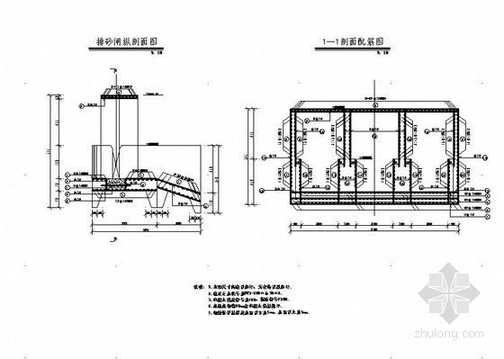 水库排砂闸、消力池底板平面和剖面配筋图