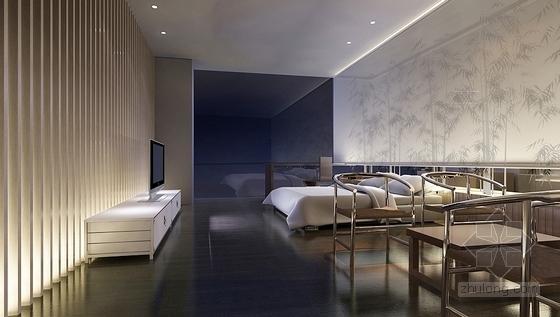 [无锡]独具特色现代中式四居室装修设计方案图次卧室效果图
