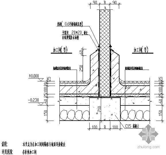 某加工间间隔板与地面连接做法节点构造详图
