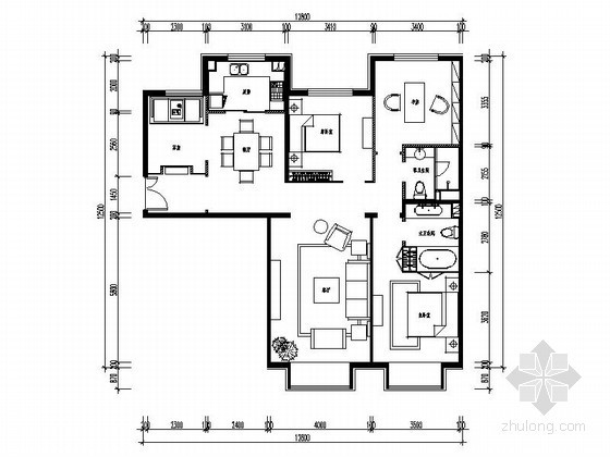 [北京]某三居室样板房室内装修图