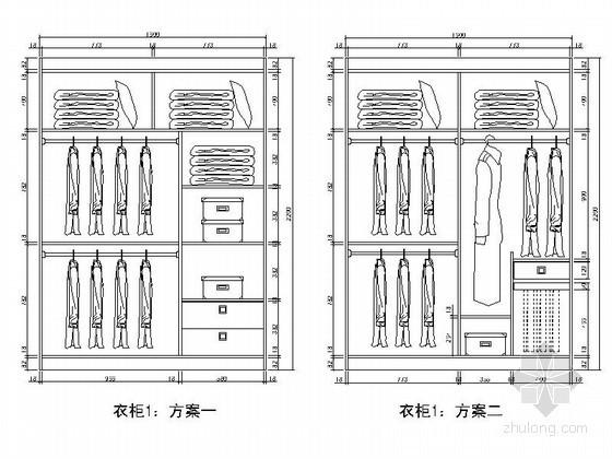 各种不同房间衣柜平立面cad图块