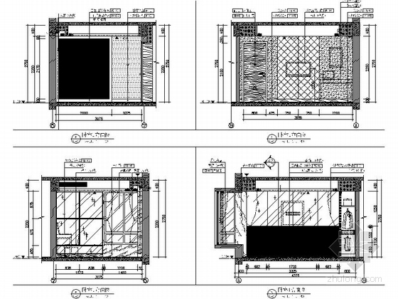 [武汉]花园洋房时尚两居室样板间装修施工图(含效果实景及手绘图)卧室立面图
