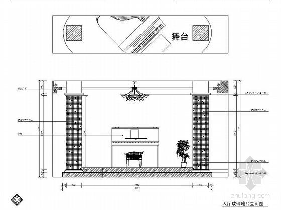 [湖北]现代时尚婚纱摄影工作室室内装修施工图-大厅立面