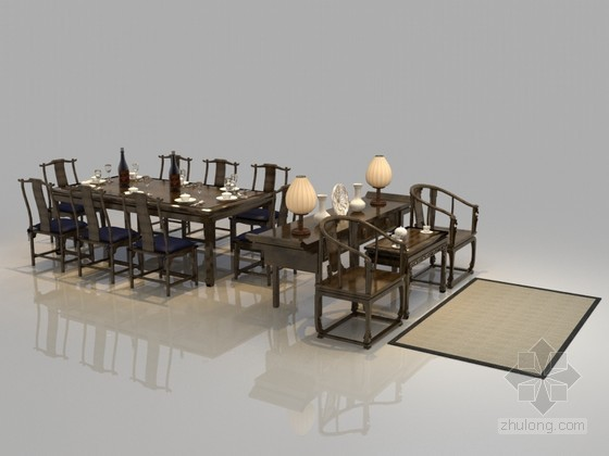 中式古典餐桌3D模型下载