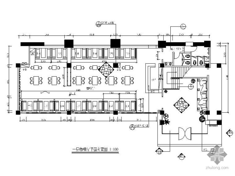 首层某西式咖啡厅室内装修图(含效果)