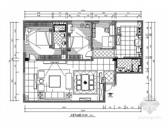 [新疆]精品简约欧式三居室装修CAD施工图(含效果图)