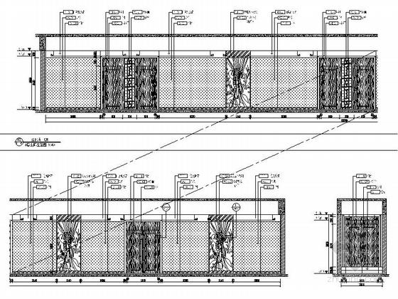 [河南]家电制造业连锁集团行政办公楼3层宴会厅及包间设计装修图(含方案手册照片)走廊电梯厅立面图