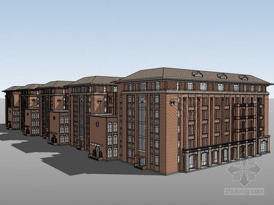 古典学院建筑设计sketchup模型下载