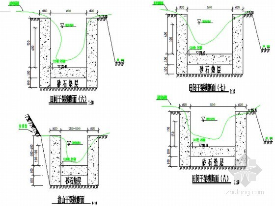 U型灌溉渠设计图资料下载-农田水利工程灌溉渠道典型设计节点详图