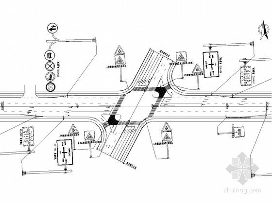 [湖北]城市次干道道路交通标志标线施工图设计26张