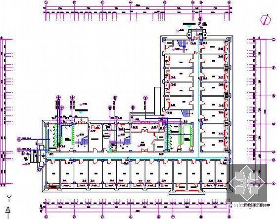 [山东]中学宿舍楼建筑安装工程预算书(附图纸及软件应用)-一层给排水消防平面图