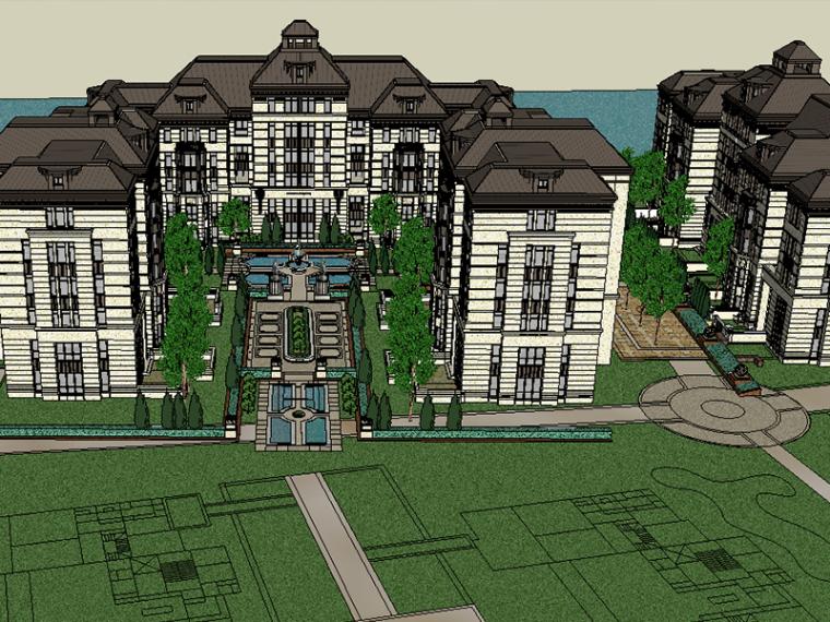 欧式居住区规划设计建筑SU模型