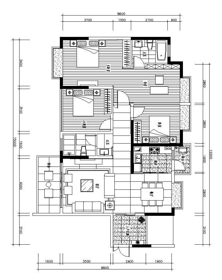 [郑州]现代简约风三居室装修施工图设计(附效果图)