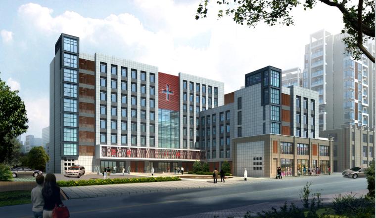 现代风格人民医院建筑设计(CAD+文本).-效果图1