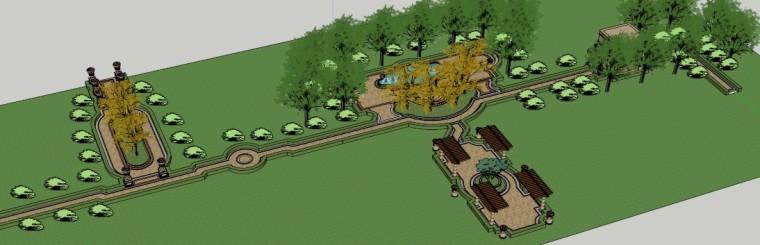 巴洛克小公园su模型