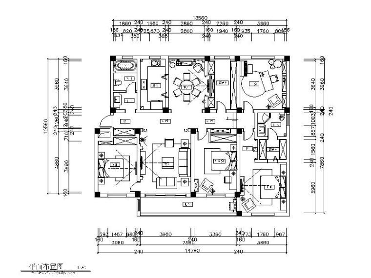 全套简欧样板房设计CAD施工图(含效果图)