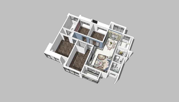 后现代风格住宅方案轻奢客厅设计模型
