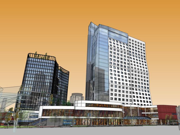 现代商业建筑SketchUp模型下载_3