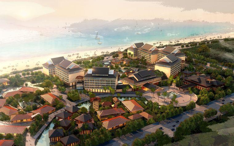 滨海别墅中式园林SU模型方案设计