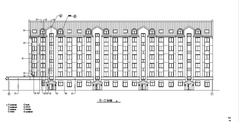 3套商住综合楼建筑设计施工图CAD-多层商住综合楼建筑设计立面图2