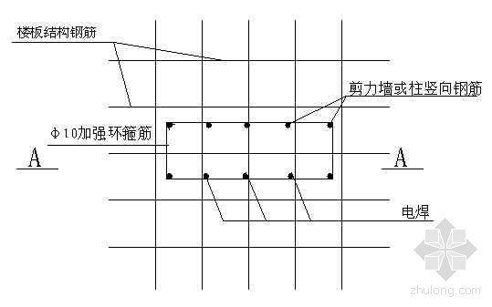 剪力墙或柱竖向钢筋固定节点图