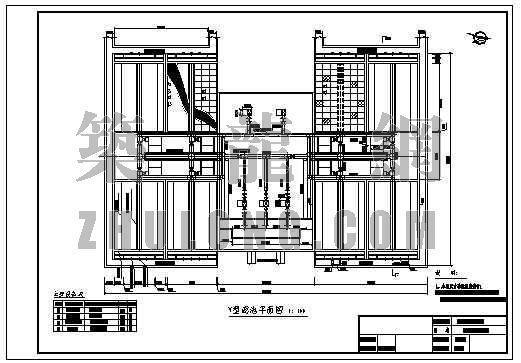 v型滤池图集资料下载-某给水工程V型滤池平剖面设计图