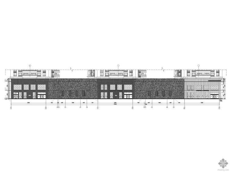 [武汉]某商住楼裙楼石材幕墙建筑施工图(含效果图)