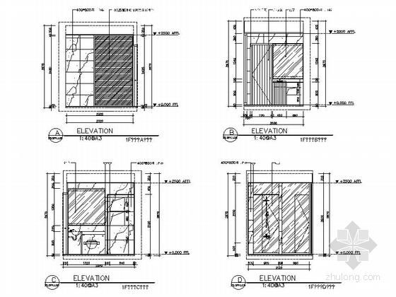 [江苏]260㎡新中式风格三层别墅室内装修施工图(含高清效果图)-[江苏]260㎡新中式风格三层别墅室内装修施工图卫生间立面图