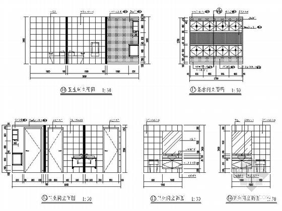 [北京]股份制商业综合金融机构支行装修施工图卫生间立面图