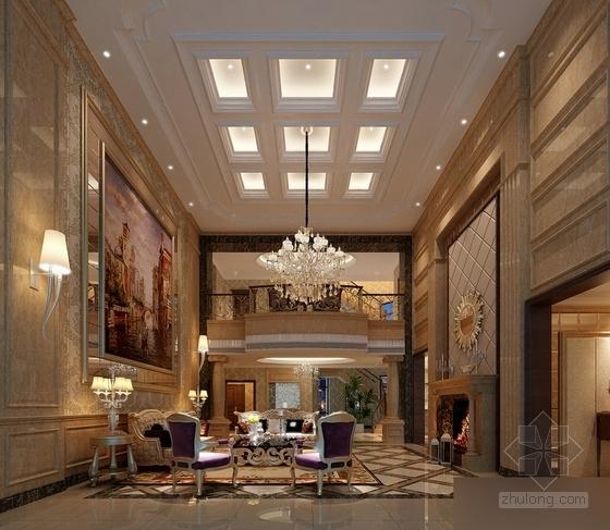 [常州]古典欧式三层别墅样板房装修图(含效果)客厅效果图