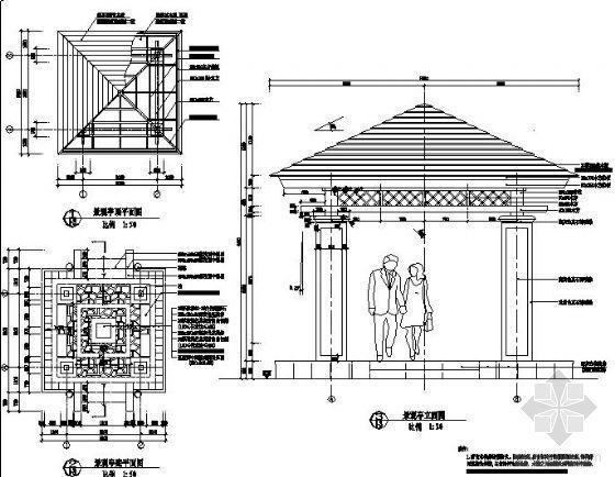某现代四角亭设计详图