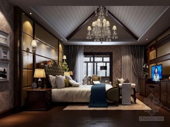 欧式风格阁楼卧室3d模型下载
