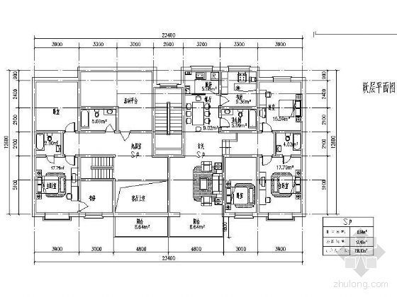 二十种多层住宅户型平面图