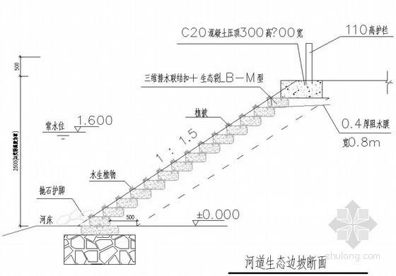 生态袋护坡设计图(三维排水生态边坡)
