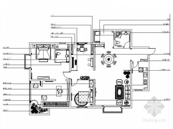 名师设计优雅田园乡村两居室样板间CAD装修施工图(含效果)