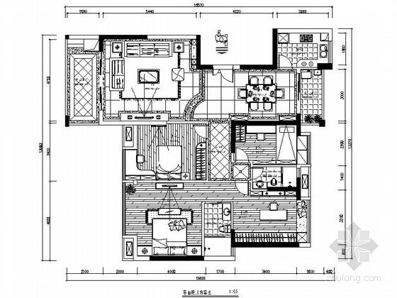 [广东]高尚住宅区欧式风格四居室室内装修施工图