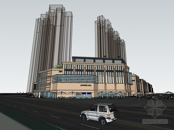 临街商场SketchUp模型下载