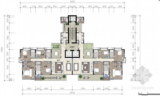 超高层现代风格住宅区平面图