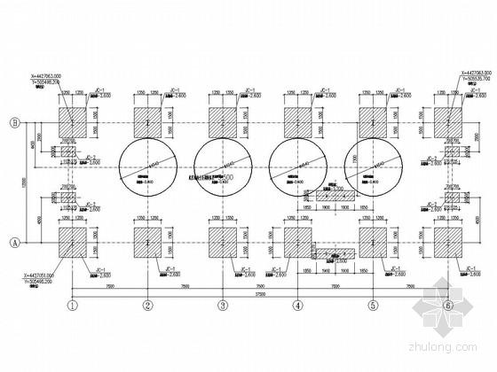 单层钢框架结构中水过滤间结构图(CFG桩)